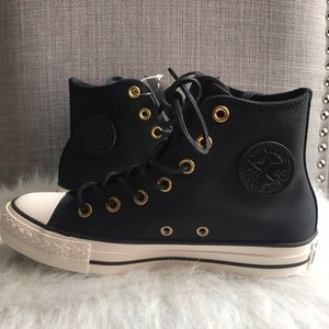 Converse leather black gold hi tops women's shoes NWT